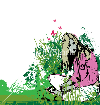Free girl in garden vector - бесплатный vector #271241