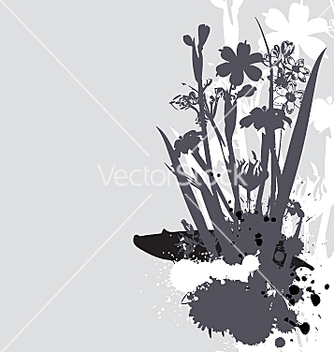 Free flowers and ink drips monotone vector - Kostenloses vector #271351