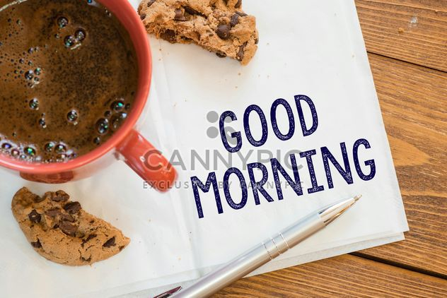 Cup of coffee, cookie and notes on wooden background - Free image #271591