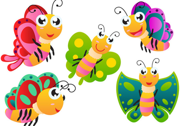 Cartoon Butterfly Vectors - vector gratuit #272421