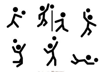 Volleyball Stick Figure Vector Icons - Free vector #272451