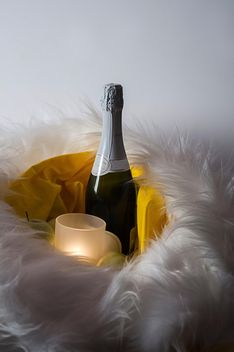 Bottle of Champagne and candle in fur - бесплатный image #272531
