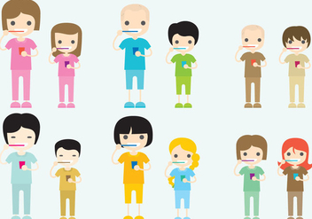 Characters Brushing Teeth Vectors - бесплатный vector #272731