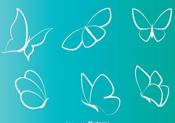White Butterflies Line Icons - Free vector #272741