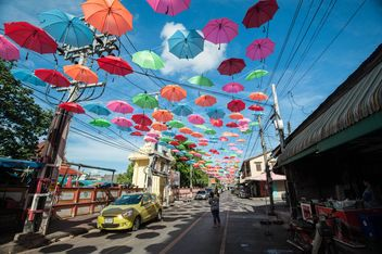 colourful umbrellas hanging - image #273101 gratis