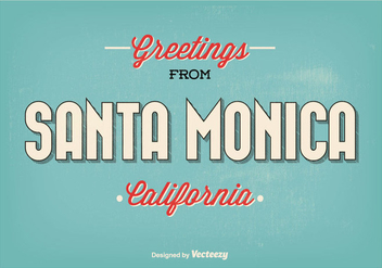 Retro Style Santa Monica Greeting Illustration - Free vector #273291