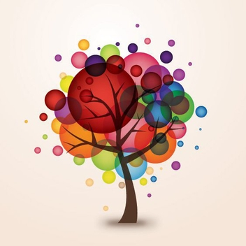 Colorful Bokeh Balloons Tree - vector gratuit #273601