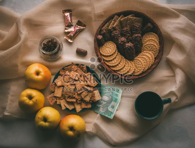 Sweets, apples, cup of coffee and money - Free image #273861