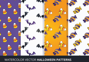 Vector Watercolor Halloween Patterns - Free vector #274011