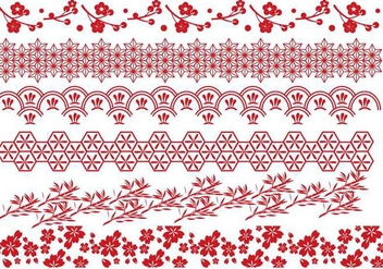 Red Japanese Border Vectors - vector gratuit #274221