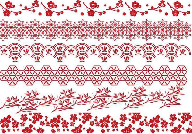 Red Japanese Border Vectors Free Vector Download 274221 Cannypic
