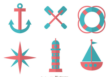 Nautical Flat Design Icons - vector #274271 gratis