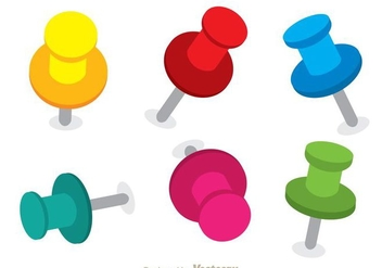 Colorful Push Pin Vectors - vector gratuit #274311