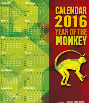 2016 monkey year calendar - vector #274491 gratis