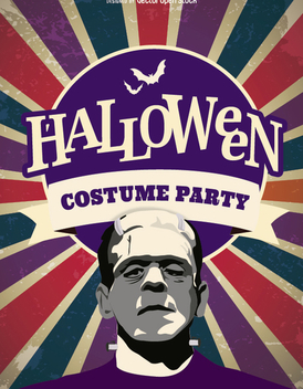 Halloween Frankenstein costume party invitation - vector #274551 gratis