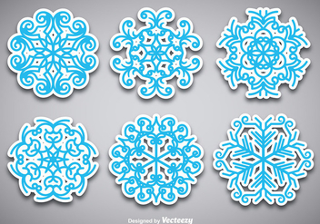 Snowflake stickers - vector #274601 gratis
