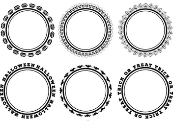 Simple Round Halloween Frame Set - vector gratuit #274641
