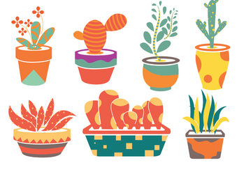 Planter Flower Vectors - Free vector #274751