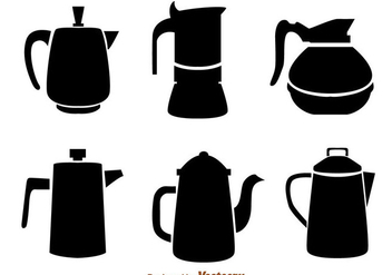Coffee Pot Black Icons - бесплатный vector #275121