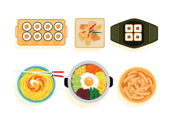 Korean Food Vectors - бесплатный vector #275191