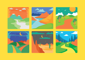 Beautiful Cartoon Landscape Vector - vector gratuit #275201