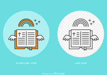 Free Open Bible Line Vector Icon - Free vector #275261