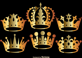 Golden Crown Vectors - Kostenloses vector #275291