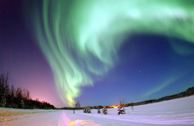 Aurora Borealis, the colored lights seen in the skies around the North Pole, the Northern Lights, from Bear Lake, Alaska, Beautiful Christmas Scene, Winter Star Filled Skies, Scenic Nature - бесплатный image #279631