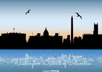 Washinton District of Columbia Skyline Illustration - Free vector #297971