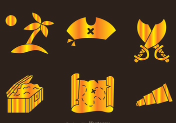 Treasure Hunter Golden Icons - Free vector #297981