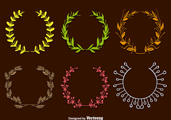 Hand drawn wreaths - vector gratuit #297991
