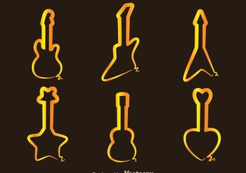 Guitar Gold Line Icons - Free vector #298011