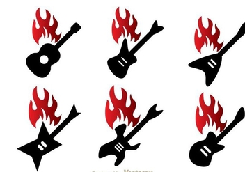 Guitar On Fire - Free vector #298021