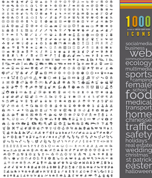 1000 flat icons mega bundle - vector gratuit #298061