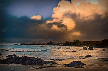 Storm clouds over glass beach - Free image #301261