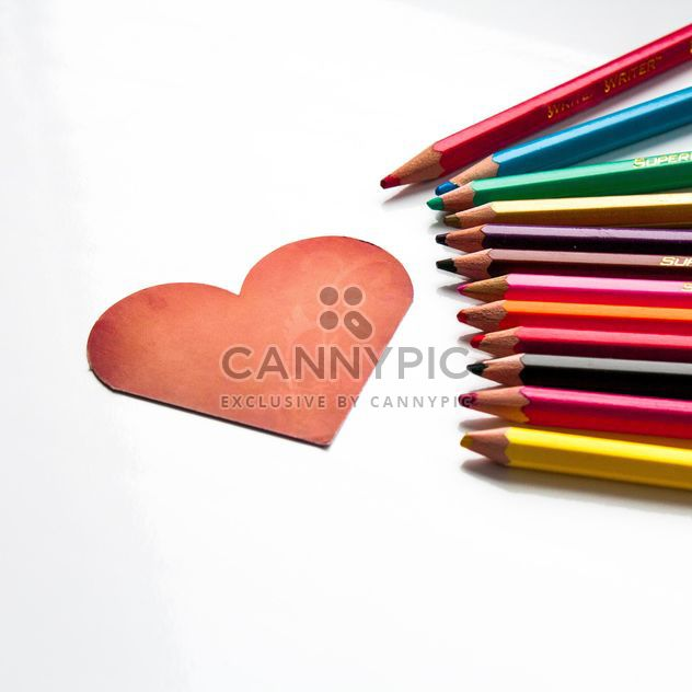 Red heart shaped card and pencils - Free image #301361