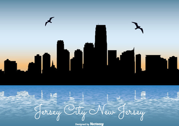 Jersey City Skyline Illustration - vector gratuit #301501