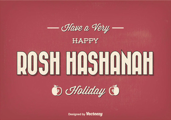 Vintage Typographic Rosh Hashanah Greeting Illustration - бесплатный vector #301791