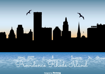 Providence Rhode Island Skyline Illustration - Free vector #301831