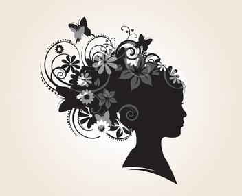 Floral Hairstyle Decoration Silhouette - vector gratuit #301861
