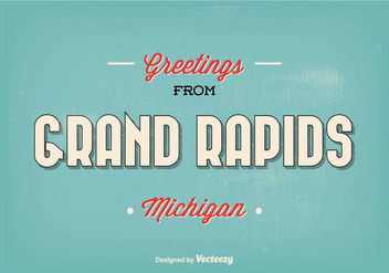 Grand Rapids Michigan Retro Greeting Illustration - бесплатный vector #302161