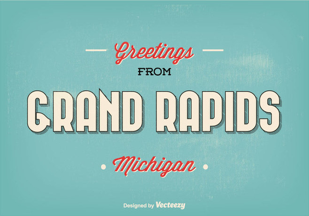Grand Rapids Michigan Retro Greeting Illustration - Free vector #302161