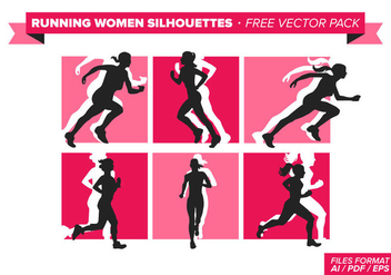 Running Women Silhouette Free Vector Pack - бесплатный vector #302221