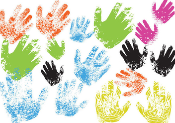 Child Hand Print Vectors - vector gratuit #302251