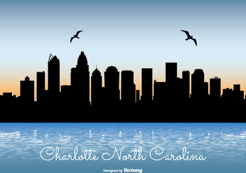 Charlotte North Carolina Skyline Illustration - vector gratuit #302451