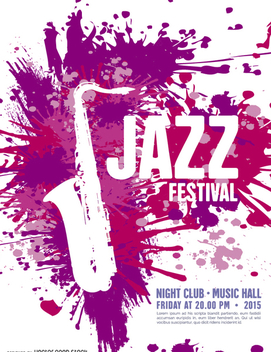 Music Jazz Festival Poster template with saxophone - vector #302471 gratis