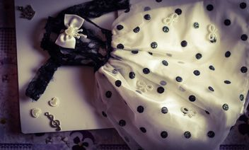 Black and white polka dot doll dress - image #302531 gratis