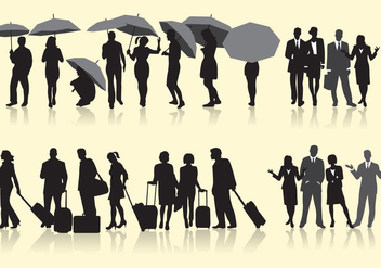 People In A Row Vectors - vector gratuit #302671