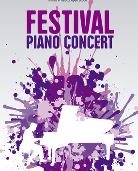 Music piano poster in cool paint splatter background - Free vector #303181