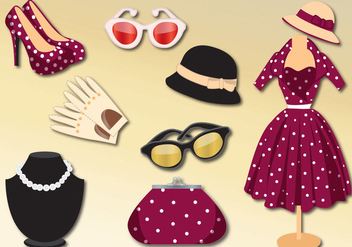 Retro Woman Clothes Vector Set - vector gratuit #303411